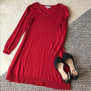 Loft S cardinal red sweater dress